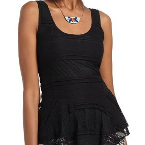 Black Lace Peplum Tank from Anthropologie